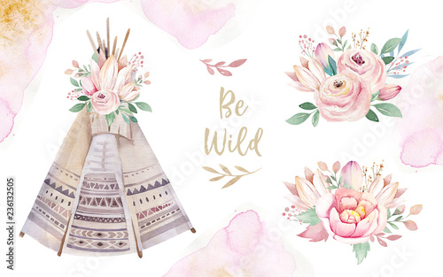 Fotografía Watercolor colorful ethnic set of teepee and flowers bouquets in native American style