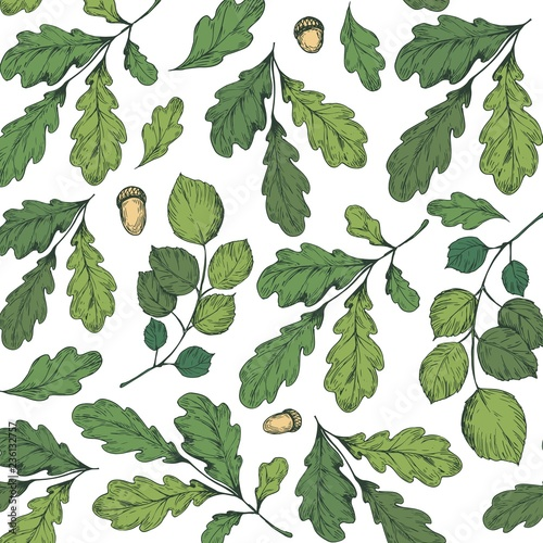Stampa su Tela Seamless pattern with leaves, tree branches, oak leaves and acorns