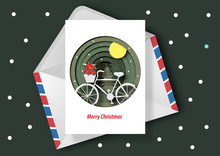 Paper Art Of Christmas Card, Bicycle And Christmas Flower In Winter Background Vector