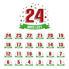 Christmas Advent Calendar 24 Days Left - Vector Illustration With Reindeer, Gift, Bell, Snowflakes, Stars, Trees - Isolated On White Background