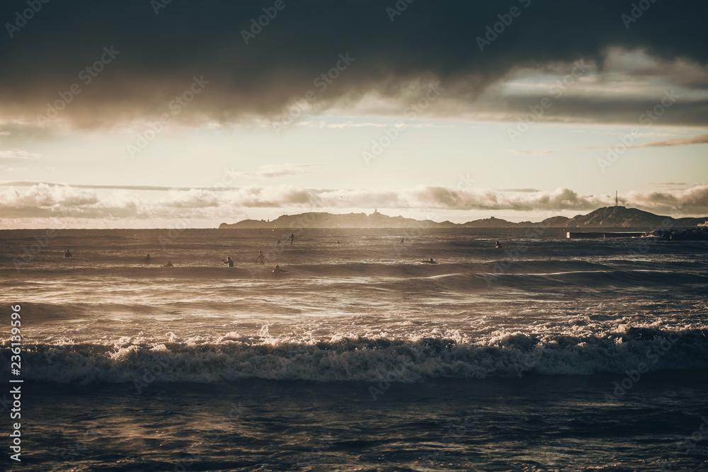 Photo Art Print Surfers Surfing At Sunrise Mediterranean