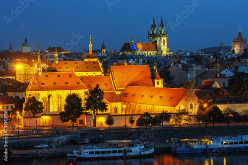 Fotografie, Obraz  Panoramic view of the night city of Prague and the Vltava river.
