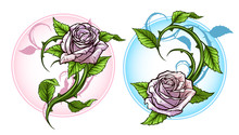 Graphic Detailed Cartoon Pink Roses Flower With Stem And Leaves. On White Background. Vector Icon Set. Vol. 3