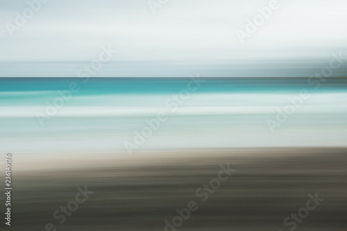 Photo sur Toile Gris Empty sea and beach background with copy space, Long exposure, blur motion blue abstract vintage tinted gradient background