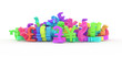 CGI typography, bunch of currency sign, money or profit for design texture, background. Colorful 3D rendering.