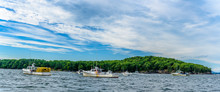 Lobster Boats Anchored In A  Maine Harbor