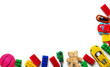 canvas print picture - Toys on a white