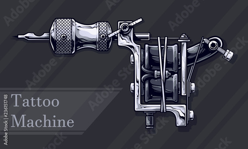 Fotografia, Obraz  Graphic detailed black and white metal tattoo machine