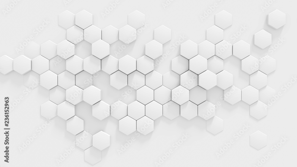 Chaotic extruded white honeycomb 3d render