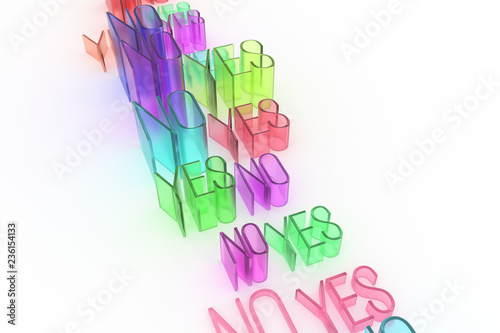 Colorful transparent plastic or glass 3D rendering. Abstract CGI typography, character yes or no. Wallpaper for graphic design.
