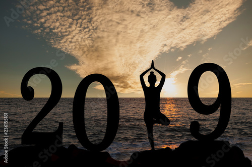 Tuinposter Ontspanning New year 2019 yoga concept woman pose