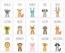 Set Of Cute Animals Poster,template,cards,bear ,rabbit, Koala, Fox, Deer, Pig, Lizard, Lynx, Squirrel, Raccoon, Lion, Monkey, Dog, Sloth, Jaguar