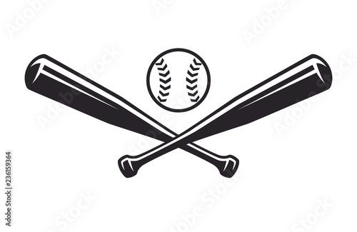 Monochrome two crossed baseball bats, icon sports tool Wallpaper Mural