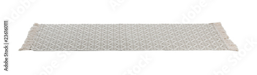 Fototapeta Light carpet with ornament on white background. Interior element
