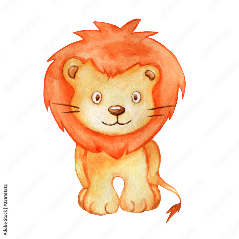 Fototapeta Cute watercolor illustration lion isolated