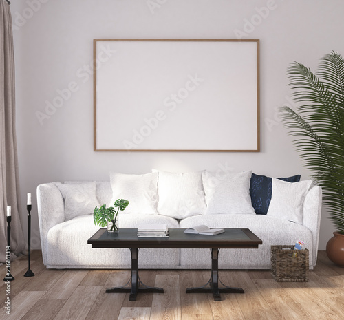 Mock Up Poster Frame In Home Interior Background Scandinavian Style