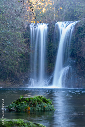 Poster Watervallen Beautiful big waterfall in Spain in Catalonia, near the small village Les Planes de Hostoles