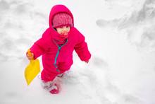 Little Baby Girl View Play Snow Wearpink Child Ski Suit Winter