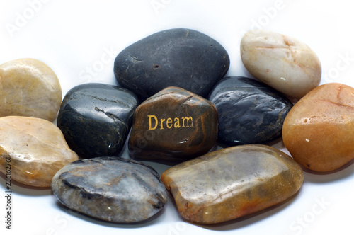 Fotografia, Obraz  A brown polished river stone with the word dream on it surrounded by many other rocks
