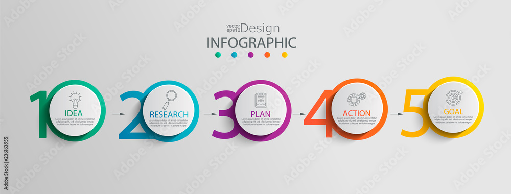 Fototapeta Paper infographic template with 5 circle options for presentation and data visualization. Business process chart.Diagram with Five steps to success.For content,flowchart, workflow.Vector illustration