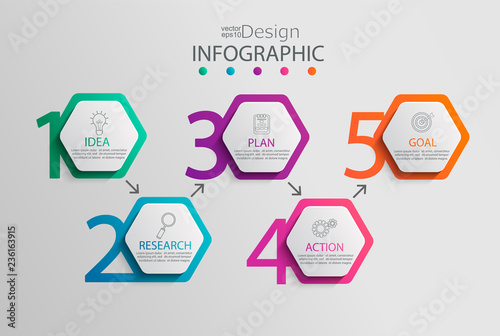 Photo  Paper infographic template with 5 hexagon options for presentation and data visualization