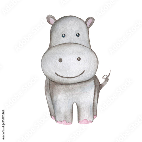 Canvas-taulu Hand draw watercolor illustration hippo isolated