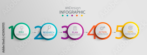 Photo  Paper infographic template with 5 circle options for presentation and data visualization