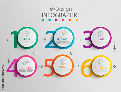 Fotografia  Paper infographic template with 6 circle options for presentation and data visualization