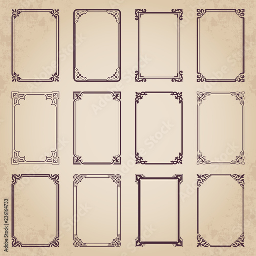 Fototapety, obrazy: Decorative retro calligraphic frames