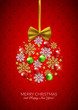 Merry Christmas Happy New Year decorative postcard, baubles and snowflakes background, vector illustration