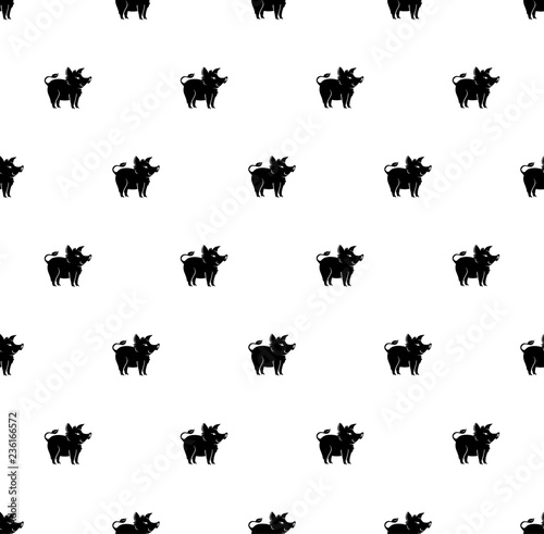 Photo sur Toile Papillons dans Grunge Animal seamless pattern black pig boars. Pattern with cartoon silhouette pig.