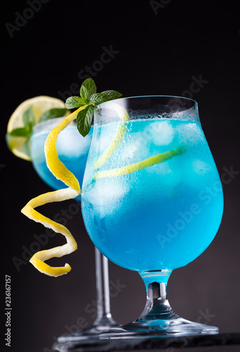 Two blue lagoon cocktails