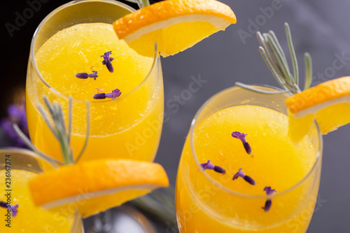 Three mimosa cocktails
