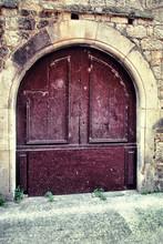 Antique Wooden Red Door In A M...