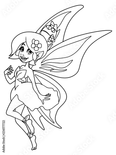 Line Art Illustration Of Happy Cartoon Fairy Flying With Butterfly