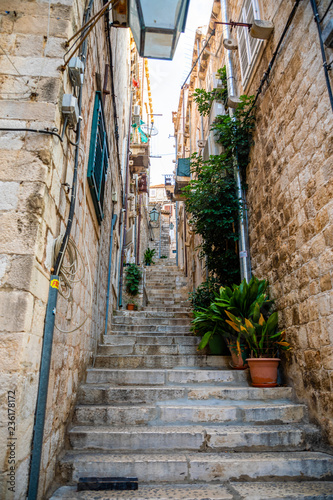 Fototapety, obrazy: Medieval narrow street in old town of Dubrovnik, Croatia