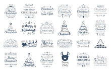 Christmas Symbols With Wishes - Collection Of Typography. Vector.