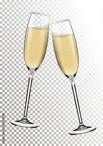 Fototapeta Vector Happy New Year With Toasting Glasses Of Champagne On Transparent Background In Realistic Style Greeting Card Or Party Invitation