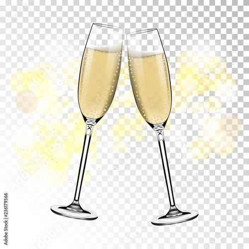 Fototapeta Vector Happy New Year With Toasting Glasses Of