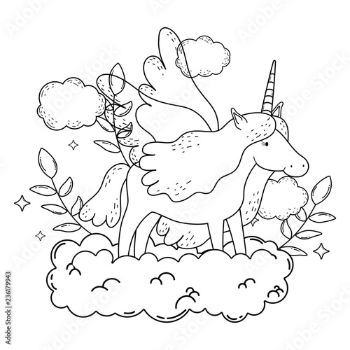 Tuinposter cute fairytale unicorn with clouds