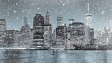 Fototapeta Nowy York - Toned photo of New York City Manhattan downtown skyline at winter night
