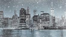 Toned Photo Of New York City Manhattan Downtown Skyline At Winter Night