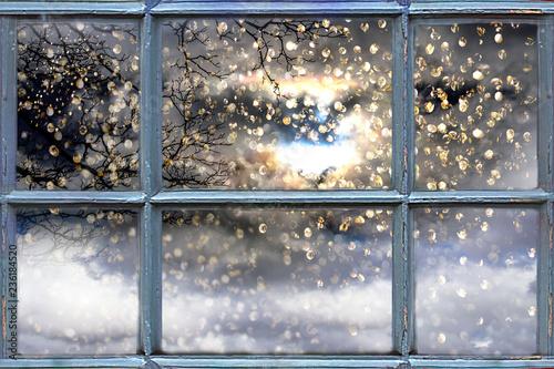 Snow falling outside the window
