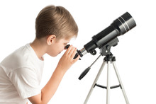 A Young Boy Looks Through A Telescope Isolated On A White Background.