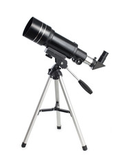 Black telescope on an aluminum tripod isolated on white background