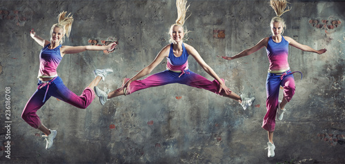 Foto op Canvas Artist KB Multiple portrait of a fit, active girl
