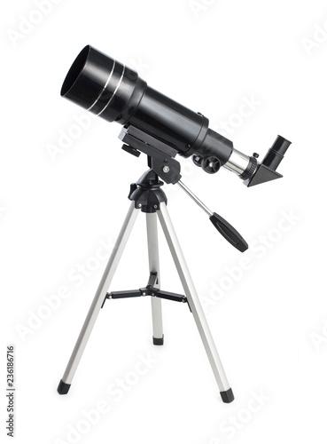 Fototapeta Black telescope on an aluminum tripod isolated on white background obraz