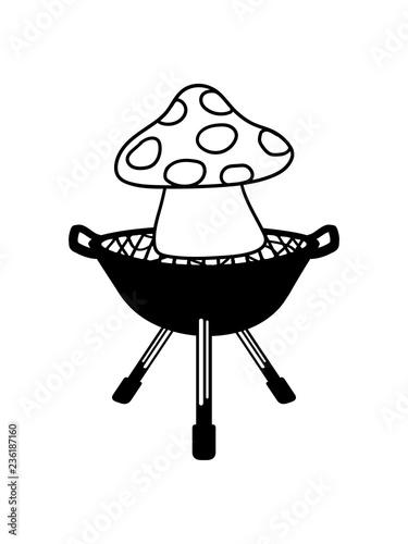 Photo  meister grill grillen bbq chef koch pilz fliegenpilz rot punkte essen giftig lec