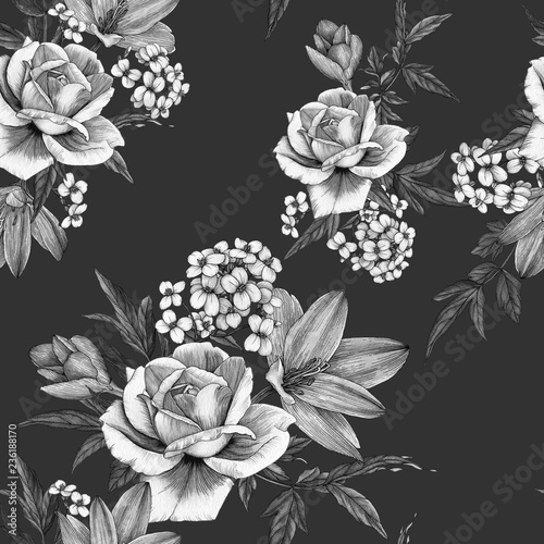 Floral seamless pattern with watercolor roses, crocuses and jasmine