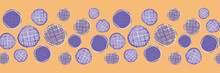 Cute Seamless Border Pattern Of Textured Circles Of Different Sizes. Vector Horizontal Repeat Design With Yellow And Purple. For Ribbons, Fabric Borders,invitations, Birthdays And Washi Tape.